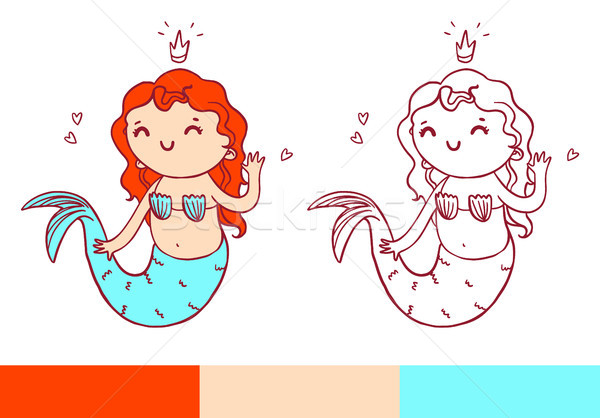 Coloring book page with little mermaid. Vector printable temlate Stock photo © vasilixa