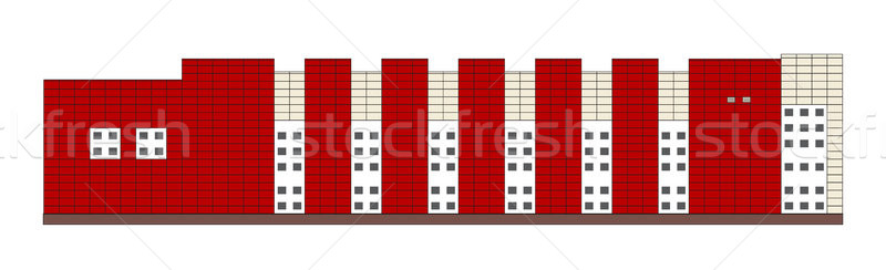 Flat design industrial building side view. Vector isolated mall exterior. Stock photo © vasilixa