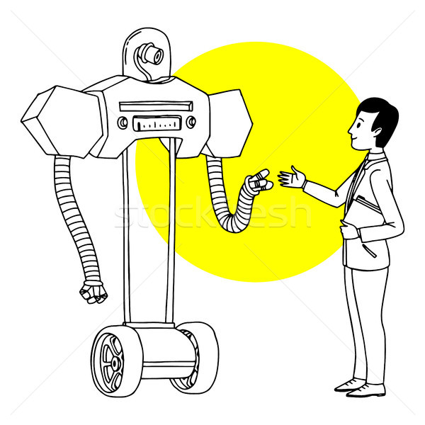 Man communicating with robot. Futuristic situation illustration. Vector isolated outline sketch. Stock photo © vasilixa