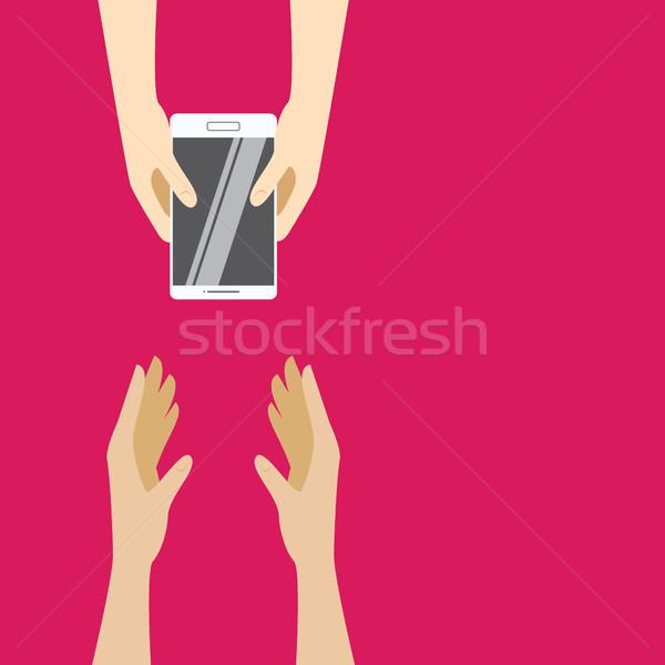 Bianco smartphone mano rosa design Foto d'archivio © vasilixa