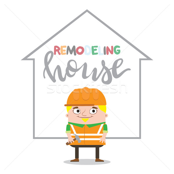 Colorful construction worker in helmets for different house remodeling and building works at constru Stock photo © vasilixa