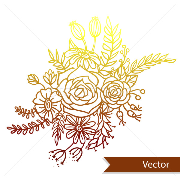 Belo buquê diferente flores branco vetor Foto stock © vasilixa