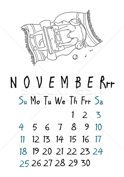 Página calendário cães negócio papel carta Foto stock © vasilixa