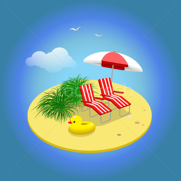 Summer vacation. Sandy island with sunbeds and umbrella.  Stock photo © vasilixa