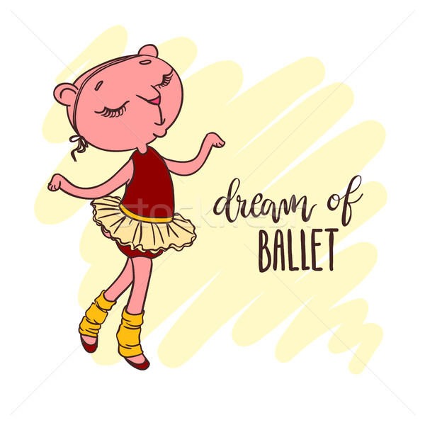 Little cute ballerina in ballet tutu. Inscription: dream of ballet. Stock photo © vasilixa