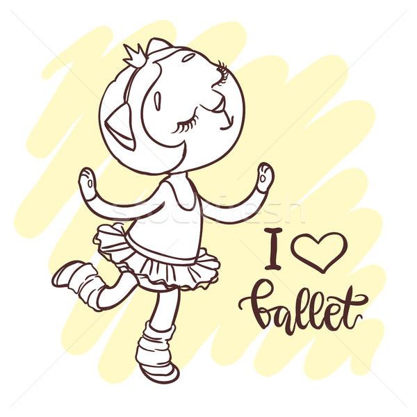 Little cute ballerina in ballet tutu. Inscription: i love ballet Stock photo © vasilixa