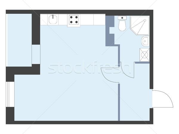 Apartment floor plan top view. Vector unfurnished house plueprint. Stock photo © vasilixa