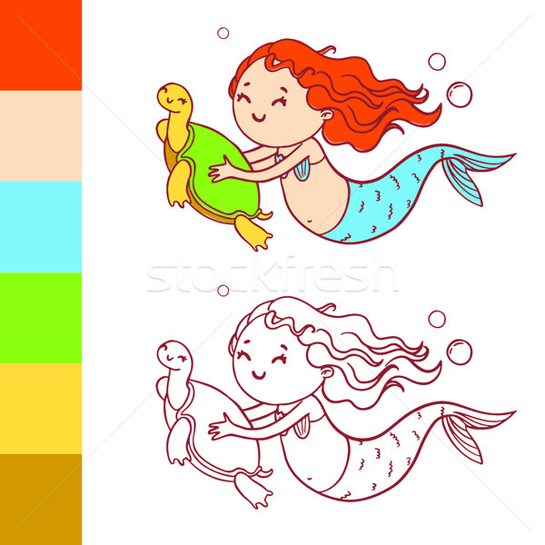 Cute mermaid with turtle. Coloring book page with example for children. Stock photo © vasilixa