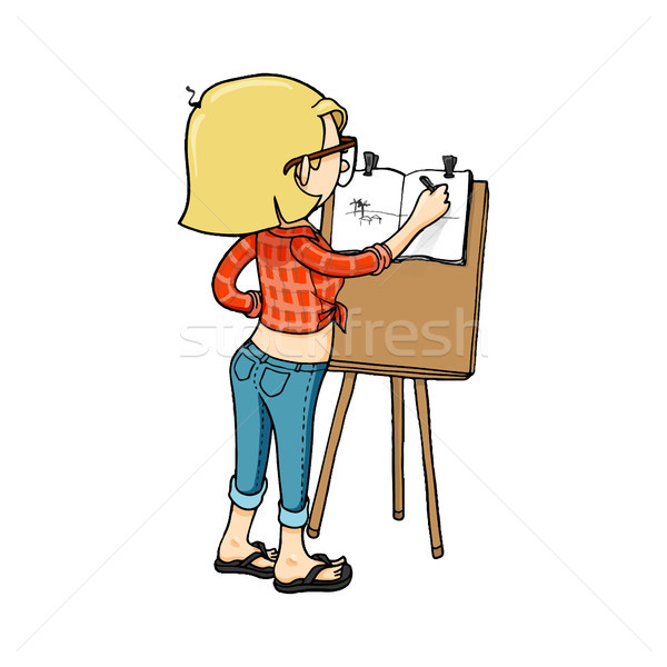 Cute cartoon girl sketching with easel and sketchbook. Stock photo © vasilixa