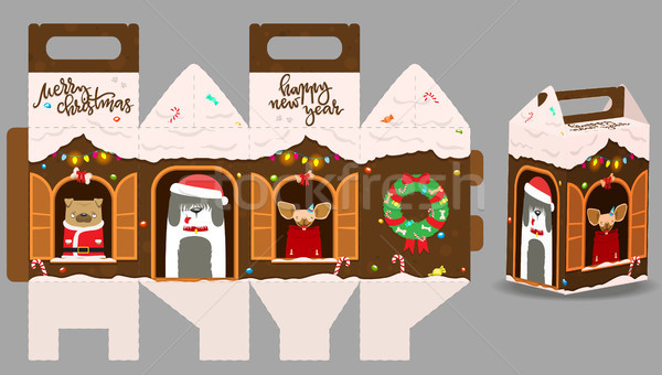 Printable gift gingerbread house with happy dogs. New Year Decor Stock photo © vasilixa
