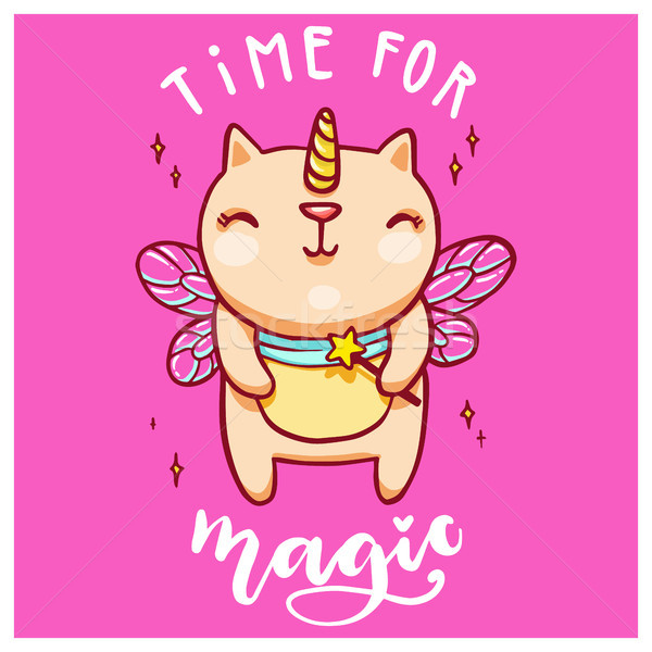 Cute unicorn cat with fairy wings and magic wand. Handwritten time for magic lettering. Vector color Stock photo © vasilixa