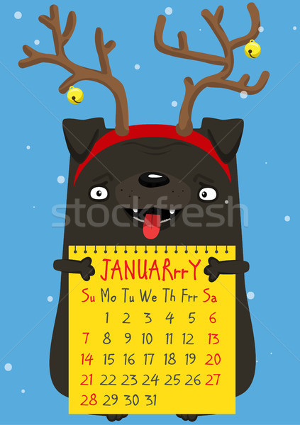 Calendar month January 2018. A cute New Year pug Stock photo © vasilixa