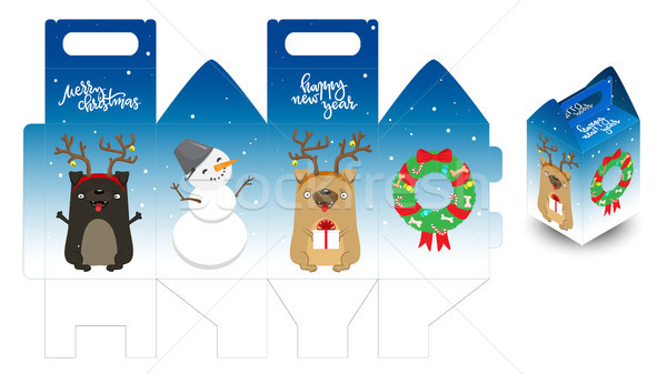 Decorative printable new year gift box with happy dogs, snowman and christmas wreath. Template candi Stock photo © vasilixa