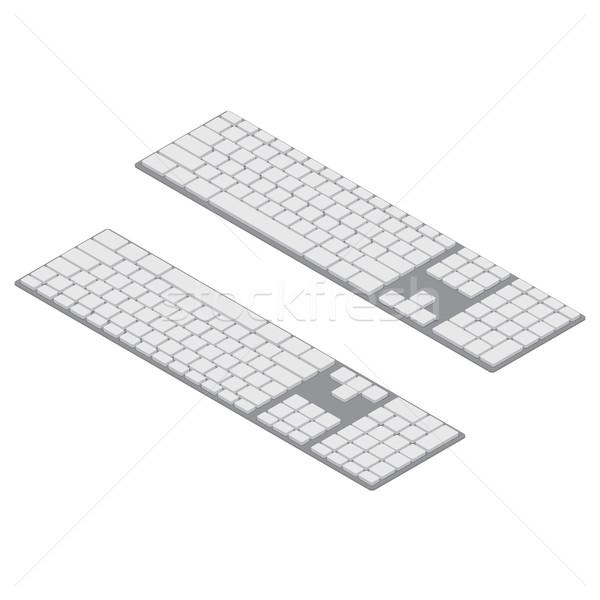 Stockfoto: Isometrische · pc · objecten · geïsoleerd · witte · draadloze