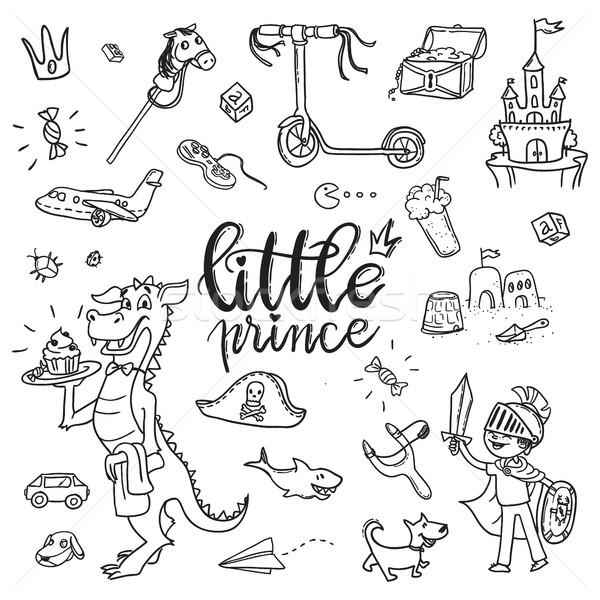 Little prince funny graphic set. Boy in armor and cloak Stock photo © vasilixa