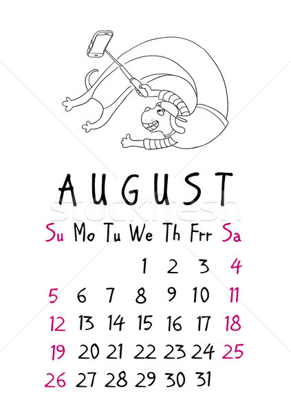 August page. Calendar 2018. Just dogs Stock photo © vasilixa