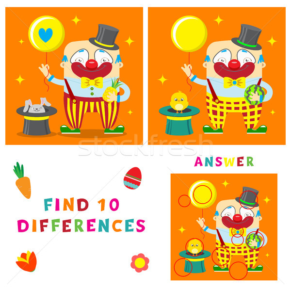 Funny clown of find ten differences illustration. Vector interesting and learning game for children. Stock photo © vasilixa