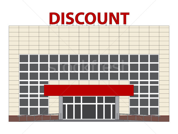 Discount center flat design illustration. Vector isolated shopping mall building. Stock photo © vasilixa