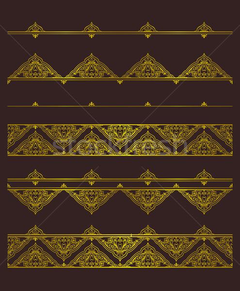 Vetor conjunto dourado modelo de design Foto stock © vasilixa
