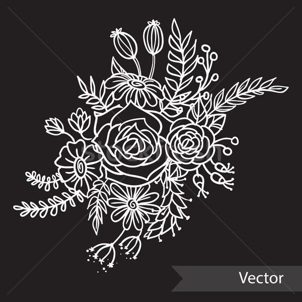 Beautiful bouquet of different flowers on black background. Monochrome style. Vector line art. Stock photo © vasilixa