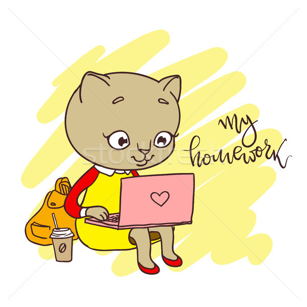 Cute kitty with laptop. Inscription: my homework Stock photo © vasilixa