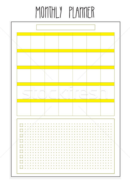 Monthly planner printable pages. Vector organizer template. Stock photo © vasilixa