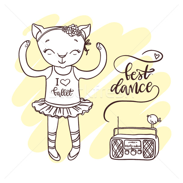 Little cute kitten in ballet tutu with radio. Hand-drawn contour Stock photo © vasilixa