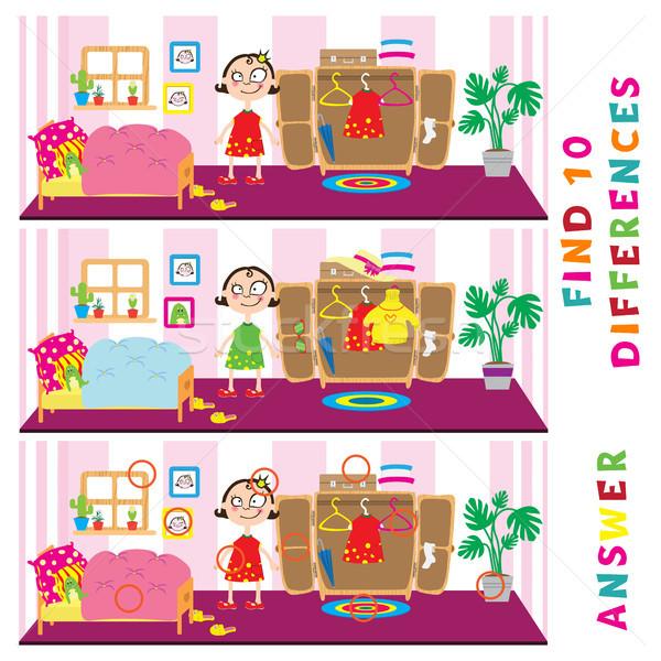 Kinderen onderwijs spel vinden tien verschillen Stockfoto © vasilixa