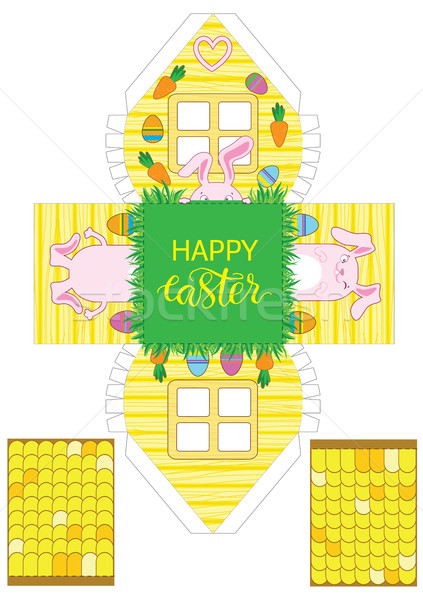 Printable gift easter house with banny, eggs and carrots. Stock photo © vasilixa