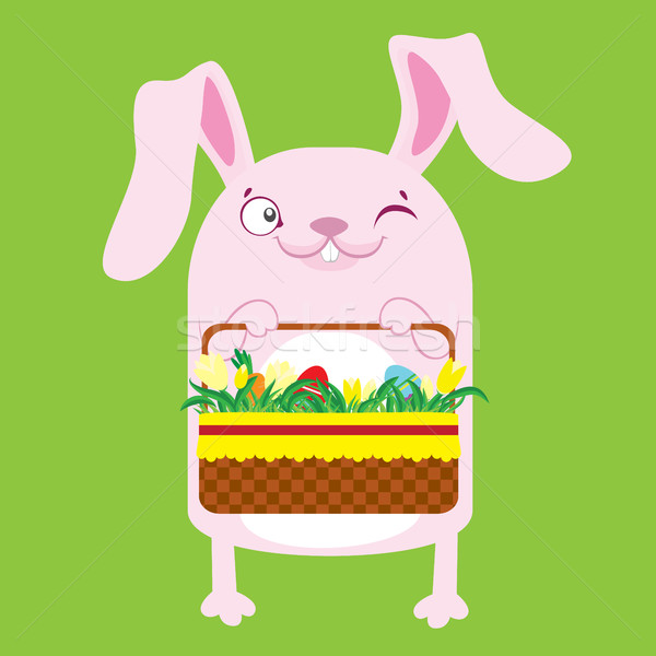 Bunny Пасху яйца розовый зеленый улыбка Сток-фото © vasilixa