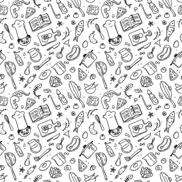 Hand drawn doodle food set with chief cook. Seamless pattern Stock photo © vasilixa