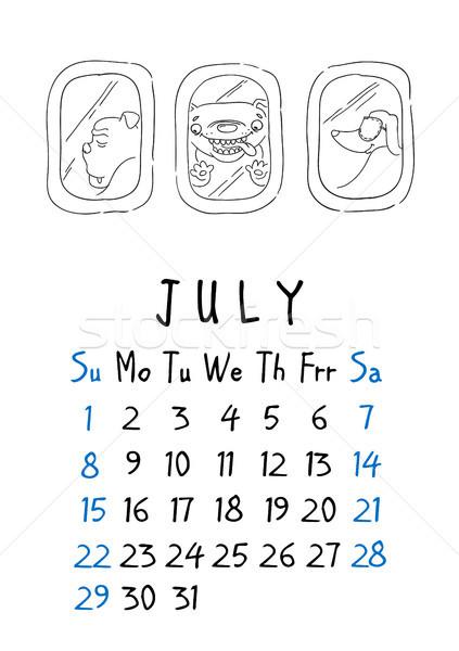 July page. Calendar 2018. Just dogs Stock photo © vasilixa