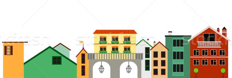 Europeu colorido cidade ilustração vetor isolado Foto stock © vasilixa