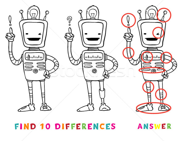 Find ten differences educational game for kids with robot. Vector learning activity for children. Stock photo © vasilixa