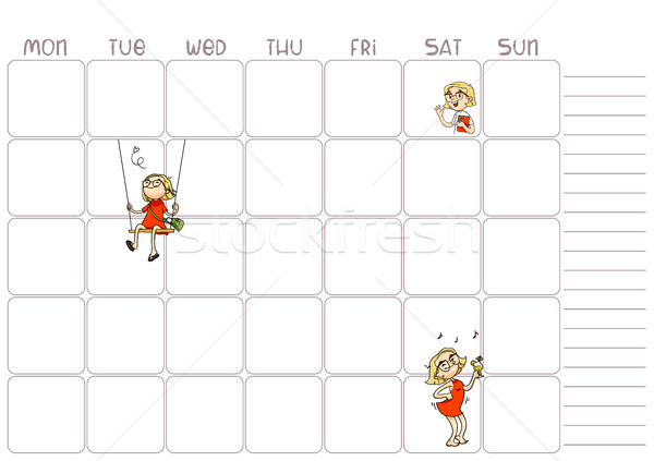 School daily, weekly planner template for kids. Vector printable timetable page with cartoon charact Stock photo © vasilixa