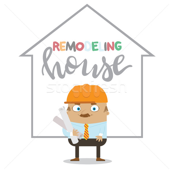 Colorful construction worker in helmets for different house remodeling Remodeling house Stock photo © vasilixa