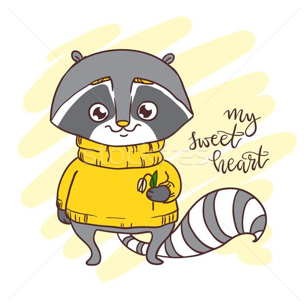 Cute little racoon in sweater. Inscription: my sweet heart Stock photo © vasilixa
