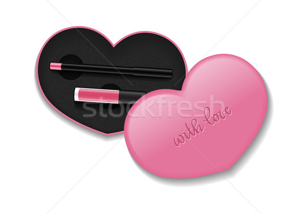 Cosmetic packaging with liquid lipstick and pencil. Vector isolated template of makeup heart shaped  Stock photo © vasilixa