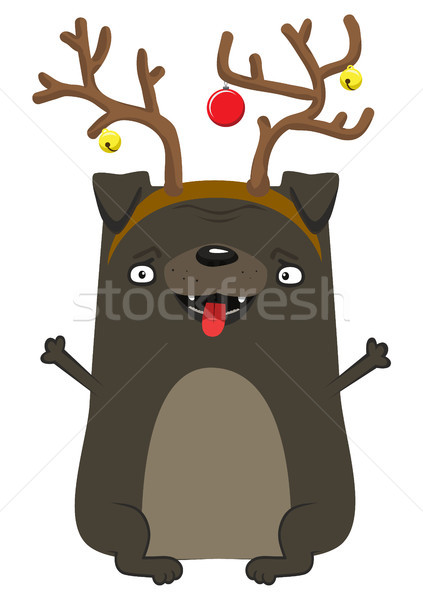 Happy New Year's dog. Symbol of the year 2018. Pug with deer horns. Stock photo © vasilixa