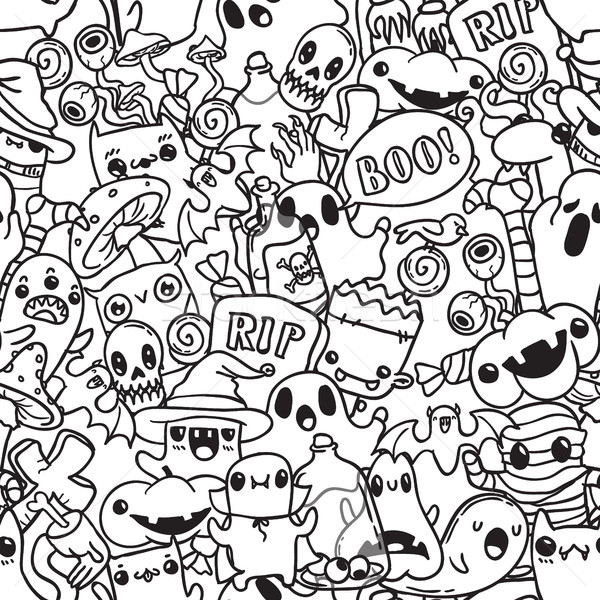 Halloween cartoon hand drawn doodle pattern. Black contour Stock photo © vasilixa