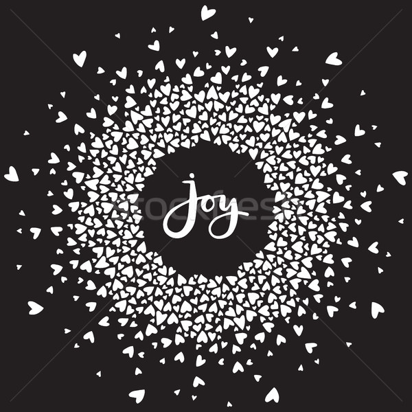 Heart mandala with joy hand written lettering. Vector calligraphic word surrounded by circled orname Stock photo © vasilixa