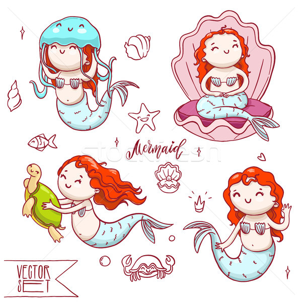 Set of four cute mermaids with other sea animals. Vector isolated underwater characters collection. Stock photo © vasilixa