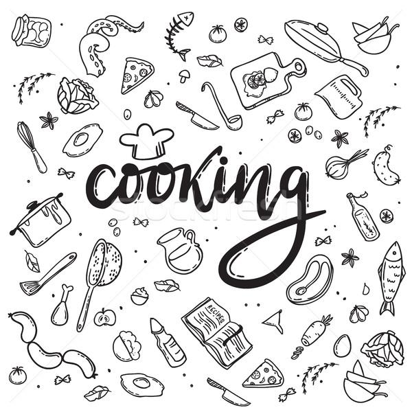 Cozinhar rabisco comida conjunto restaurante Foto stock © vasilixa