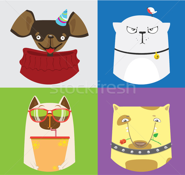 Stock photo: Set of four cute cats and dogs. Vector collection of domestic animals.