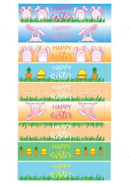 Pasen banner eieren wortelen vector verpakking Stockfoto © vasilixa