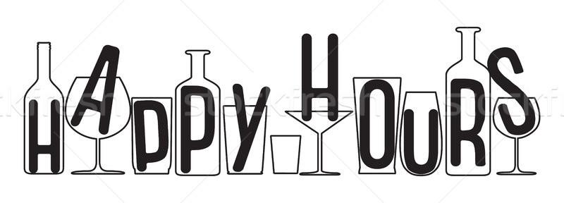 Happy hours design. Vector illustration for pubs, nightclubs, bars, restaurants, posters, coasters,  Stock photo © vasilixa