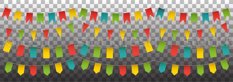 Flagi zestaw wektora odizolowany kolorowy kolekcja Zdjęcia stock © vasilixa