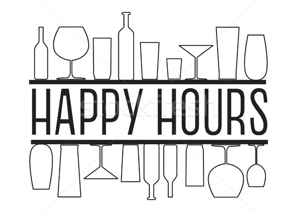 Happy hours black and white vector text with countour glasses and bottles on the bar shelves. Stock photo © vasilixa