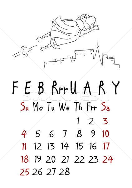 February page. Calendar 2018. Just dogs Stock photo © vasilixa
