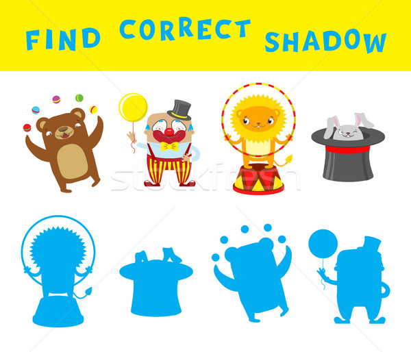 Find the correct shadow educational game for kids. Vector activity template with circus characters. Stock photo © vasilixa